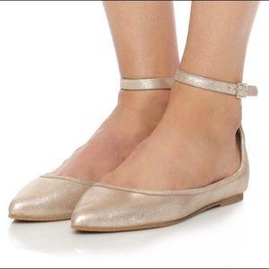 Joie Gold Metallic Ankle Strap Flats SZ 38.5/8.5